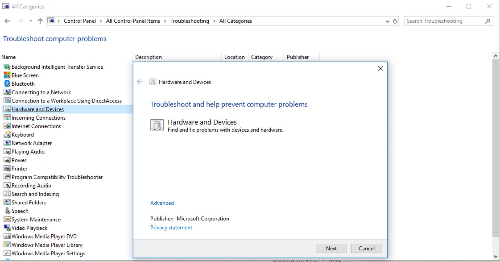 گزینه Hardware and devices troubleshooter برای حل مشکل دکمه کنترل در کیبورد
